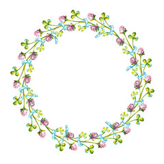 Beautiful background with watercolor drawn clover wreath and free space for your text