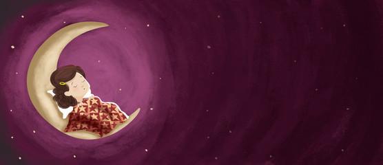 Dibujo de una niña que está durmiendo o soñando en la luna. Es de noche y el cielo está estrellado. Ilustración.