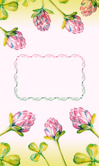 Beautiful background with watercolor drawn clover  and free space for your text