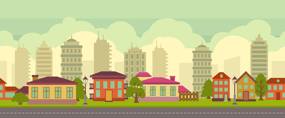 Seamless city landscape in flat style
