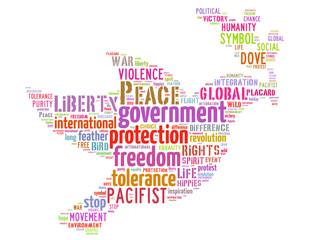 Peace dove, word cloud concept 5