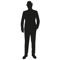 Standing man in suit and hat. Hand in pocket. Vector silhouette