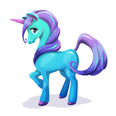 Cute cartoon blue unicorn with purple hair