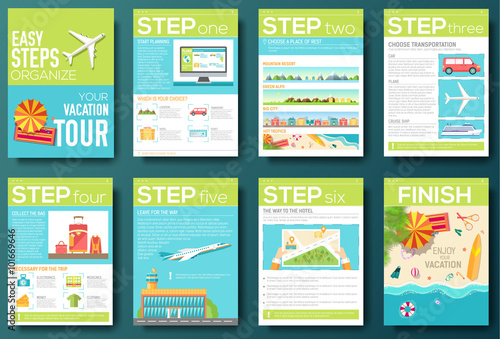easy steps organize for your vacation tour flyer with infographics