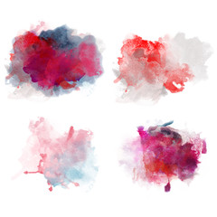 Lovely Red Watercolor Blobs. Set of Watercolor Splashes