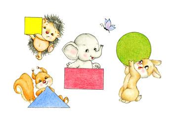 Hedgehog, elephant, bunny and squirrel holding geometric shapes