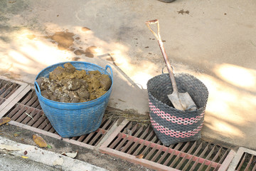 Elephant's excrement in a basket, can recycle to paper