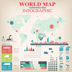 World Map Info graphic vector.