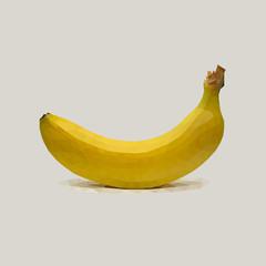 Банан низко полигональный в векторе.