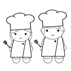 doodle woman and man - chef