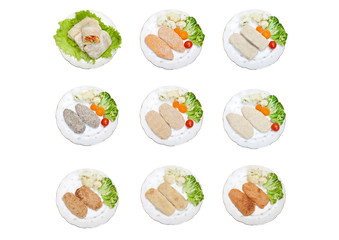 Raw cutlets and cabbage rolls on plates. With cauliflower, broccoli and tomatoes, isolated on white background. A set of 9 photos