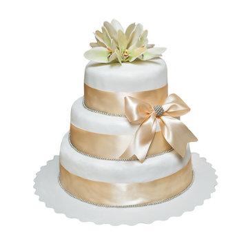 white multi level wedding cake isolated on white background