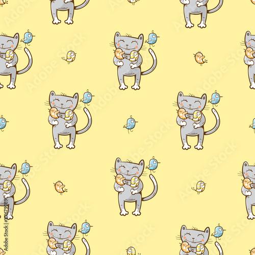 Стикер для стены, с принтом милой кошки