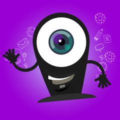 camera webcam big eyes character cartoon smile with hands mascot face happy