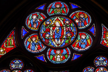 Virgin Mary Angels Stained Glass Notre Dame Cathedral Paris