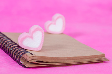 heart candies  with book note ,message paper.selective