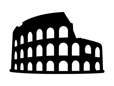 Colosseum / Coliseum in Rome, Italy flat icon for travel apps and websites