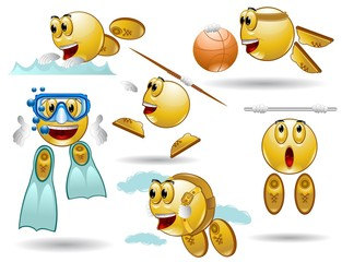 set of smile characters different sport style