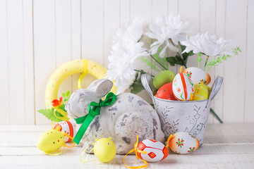 Colorful easter eggs and decorative  rabbit