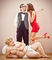 confident nerd boyfriend man found love with cupid help for Valentine Day