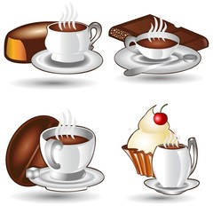 set of tea and coffee cups with sweets icons isolated on white