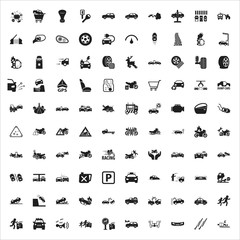 car, repair, mechanic 100 black simple icons set for web