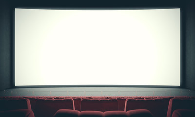 Movie theater with empty seats and big white screen. With color filter. 3d render