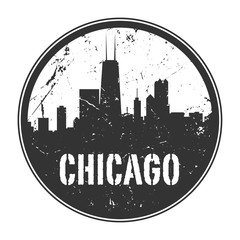 Grunge rubber stamp or emblem with name of Illinois, Chicago
