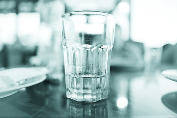 glass of water in the interior of the restaurant