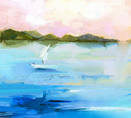 Abstract colorful oil painting landscape on canvas. Semi- abstract image of white sailboat and green hill, blue lake with sunlight and sky. Spring season nature background