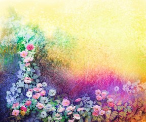 Watercolor flower painting . Hand painted White, Yellow and Red Ivy flowers in soft blue green, yellow color and grunge texture background. Spring flower seasonal nature background