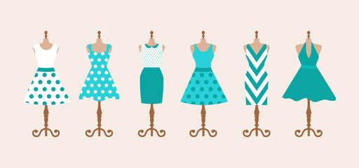 Set of 6 retro pinup cute woman dresses on a mannequin. Short and long elegant green, blue and white color polka dot design lady dress collection. Vector art image illustration, isolated on background