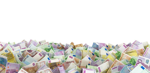 Euro banknotes at the ground, white background