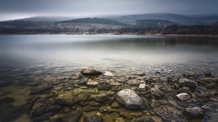 landscape in lake. Lozoya. Madrid. Spain