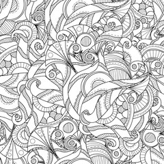 Doodle hand drawn seamless pattern. Abstract black and white background.