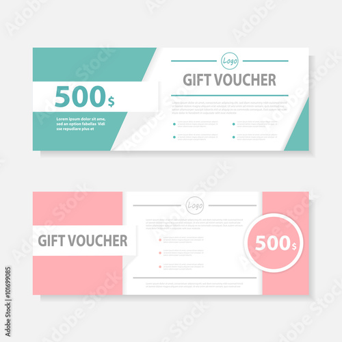 pink green gift voucher template with colorful pattern cute gift