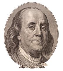 Portrait of U.S. statesman, inventor, and diplomat Benjamin Fran