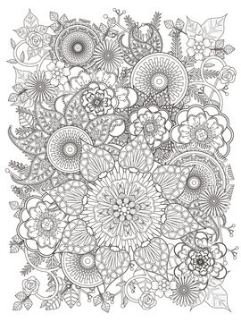 elegant floral coloring page