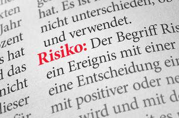 Wörterbuch mit dem Begriff Risiko