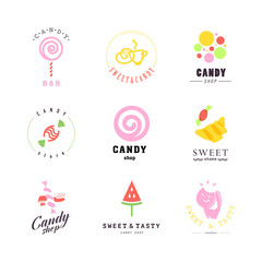 Flat candy bar logo collection