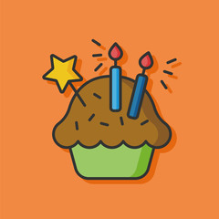 birthday cake vector icon