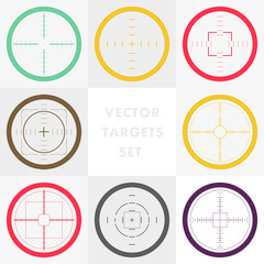 Flat crosshair simple icons collection