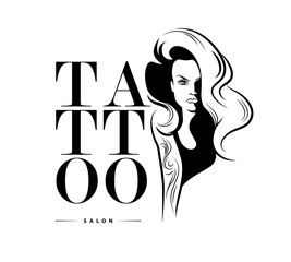 Tattoo design with stylish girl
