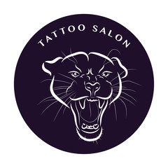 Tattoo design with lion or jaguar head