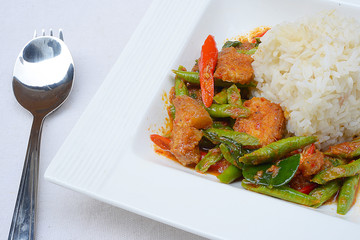 Stir fried crispy pork belly and red curry