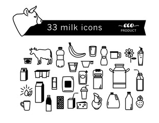 Flat milk icons and design elements