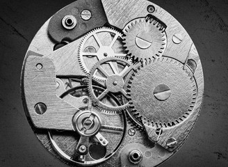 Clockwork with gears and cogwheels in vintage style