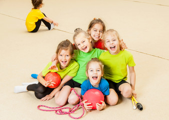 Happy children in gym