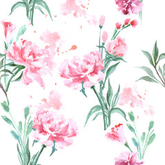 Watercolor seamless pattern with blooming peonies. Vector Illustration