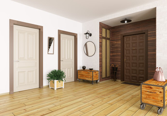 Hall interior 3d render